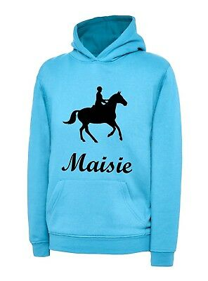KIDS Custom Horse Riding Personalised Hoodies Age 3-13 NEW