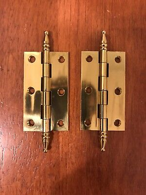 Pair of Antique Style Brass Hinges with Steeple Finial