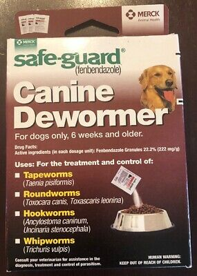 Safe-Guard Canine Dewormer 4g 40 lb Dog Tape Round, Hook and Whip Worms Exp 9/18