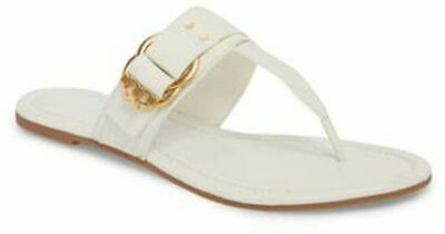 e4398e80fa41 NIB 228 Tory Burch Marsden Flat Thong Sandals White Calf Leather Gold Logo  7 M