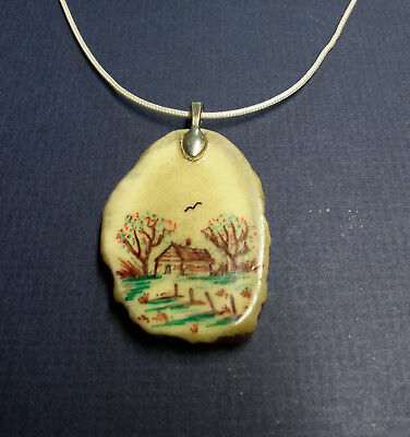 Necklace Mule Deer Antler (shed) Hand Painted- Cabin- Adjustable Cord