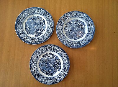 Liberty Blue Historic Colonial Scenes Monticello 5-3/4 inch Plates, qty 3
