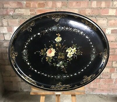 Beautiful Large Victorian 19th Century Mother Of Pearl Papier Mache Tray