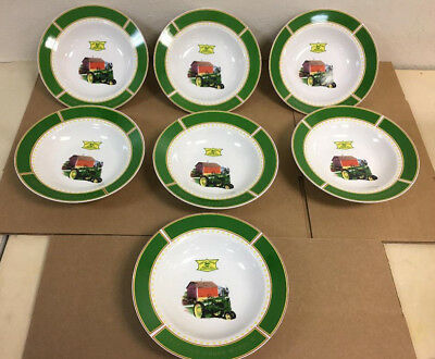 """7 JOHN DEERE 9"""" SOUP BOWL GIBSON 1935 MODEL B TRACTOR with RED BARN"""