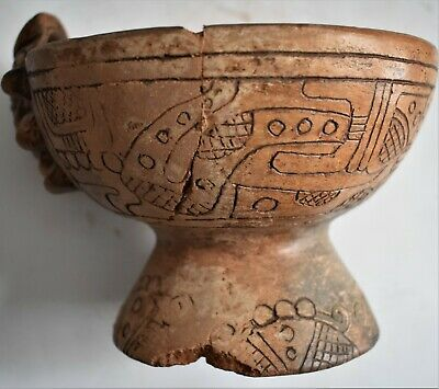 Orig $1099 Wow! Pre Columbian Mayan Burial Bowl, 6In Prov
