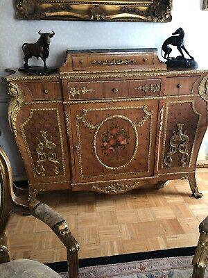 Elegant Luis XV Commode Marble Top Gilt Bronze Maunted