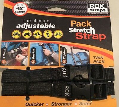 New Rok Straps Stretch Up to 42 Inches Adjustable Twin Pack Strap Plain Black