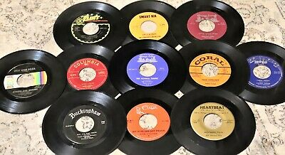 "Big Lot of 30 Vinyl 7"" Records FOR CRAFTS 45rpm JukeBox Discs 45s CRAFTING 45's"