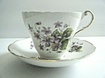 Regency English Bone China Tea Cup & Saucer Violets Pattern Made In England