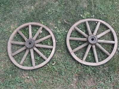 Antique Primitive Country Decor Wagon Wheel Buggy Car Wheel Wood  Cart CARIOLE