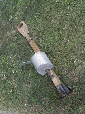primitive Hand Held Wooden Corn Seed Planter Garden Decor Antique Farm Tool old