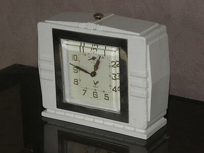 vintage clock alarm blangy retro desk  Art Deco design  Mechanics uhr old french