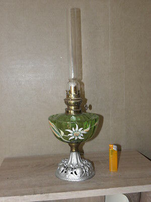 antique hand painted /Enameled Victorian/French glass oil lamp