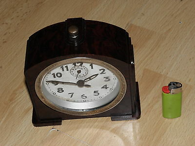 CLOCK ALARM Mechanics Art Deco old antique VINTAGE BAKELITE DESIGN BAUHAUS