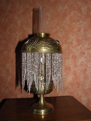 OIL LAMP BRASS art deco SHADE ANTIQUE VICTORIAN circa french art
