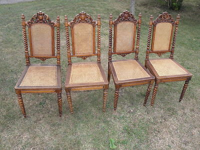 Antique Armchair Victorian Hand Carved Oak Hall Seat Set Dining Chairs Wooden