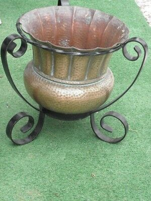 vintage Copper Vase Pot stand Arts Crafts Planter flower plant wrought iron old