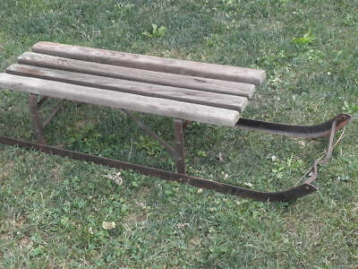 antique Snow sleigh Sled Wooden antique Sledge Wrought iron Christmas SKIS old