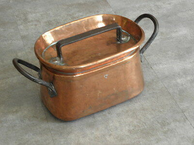 antique Copper Bowl Kettle Pot pans Castle Cauldron KITCHEN country DAUBIERE old