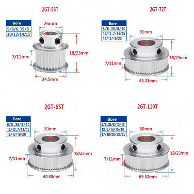 55-110T GT2 Timing Pulley 6/10mm Belt Synchronous Wheel Gear 3D Bore 5-25mm