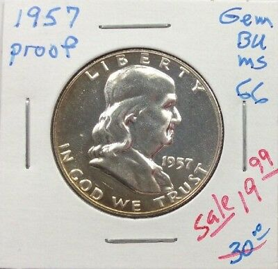 1957 50C (Proof) Franklin Half Dollar in GEM+++ Proof Condition