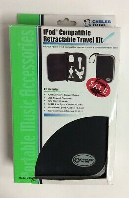 iPod Compatible Retractable Travel Kit by Cables to Go; Model #35505