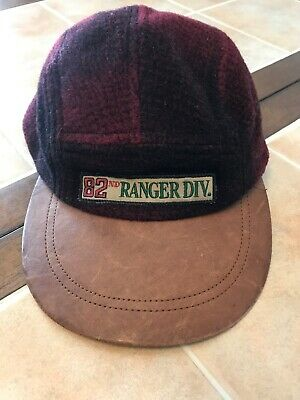 d544f5aaa87e4 VTG Rare Tommy Hilfiger Plaid Leather 82nd Ranger Division Hat Cap 082