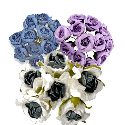NEW! 144 PACK 20mm PAPER TEA ROSES ON A STEM CRAFT FLOWERS WEDDING BOUQUET