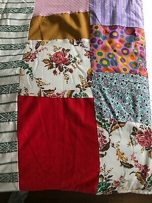 """Vintage 1940's Patchwork Fabric Quilt Throw With Wool Blanket Backing 66"""" X 52"""""""