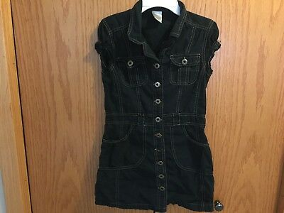 Girls Limited Too Black Button Dress Size 8
