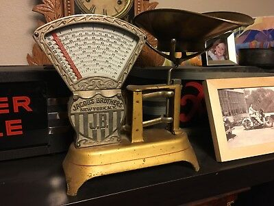 ANTIQUE CANDY SCALE JACOBS BROTHERS 2 LBS New York Gold & Clean