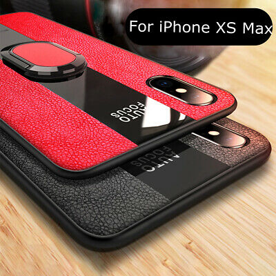 For iPhone XS Max XR X 8 7 Luxury Leather Rubber Ring Holder Magnetic Case Cover