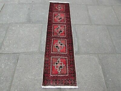 Old Traditional Hand Made Persian Oriental Red Wool Short Runner 168x46cm
