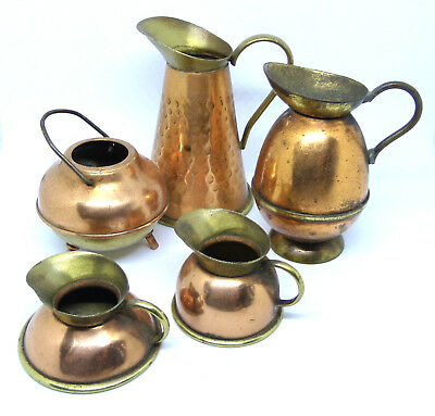 Set of 5 small Brass Milk Jugs Ornaments Collectables 7cm