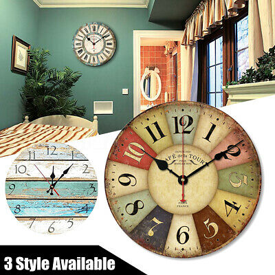 Large Vintage Wooden Wall Clock Chic Kitchen Home Decor Antique Style 30cm 1 ❤