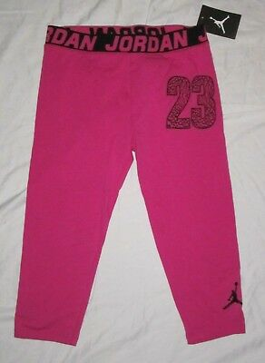 NWT Girls NIKE AIR JORDAN Athletic Capri Leggings Capris - size M - Pink & Black