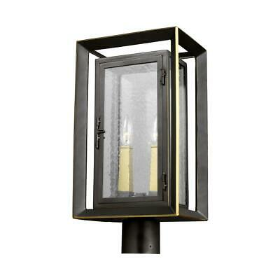 Urbandale 2-Light Outdoor Antique Bronze/Painted Burnished Brass Post Light