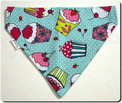 Dog Bandana Over Collar Style Reversible Birthday Cupcakes Balloons Fabric Small