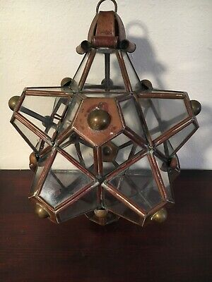 Hector Aguilar Copper & Brass Glass Star Lantern, Marked Taxco Mexico
