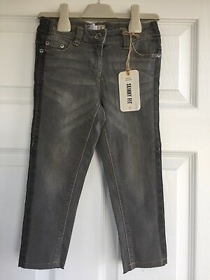 Bnwt Girls Grey Skinny Fit Jeans, Size 5 Years, From Next Rrp £14