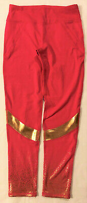 Leggings girls new size XL 14-16 fuchsia gold fitted Avia 85% polyester spandex