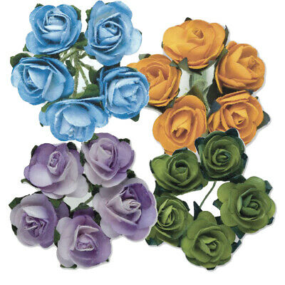 NEW! 144 PACK 15mm PAPER TEA ROSES ON A STEM CRAFT FLOWERS WEDDING BOUQUET