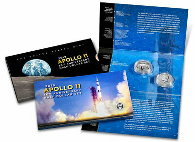 2019 Apollo 11 50th Anniversary  2 Coin Set With Reverse Proof Kennedy, SOLD OUT
