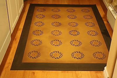 "Floorcloth 5'X7' ""MINUET"" Beautiful Hand-Painted Primitive Colonial Area Rug"