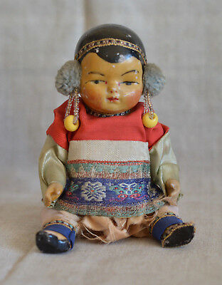 """Antique German All Bisque Rare Asian Chinese Baby Doll, 6"""" Marked, Tinted Glaze"""