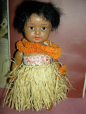 "Adorable 6 1/2"", S&H German antique brown black bisque j'td. HANNA Hawaiian doll"