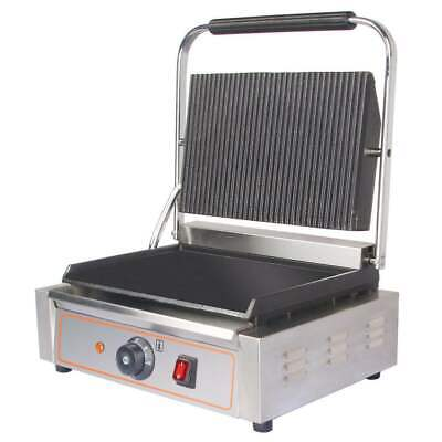 Commercial Panini Toaster Machine Ribbed Top Grill Electric Sandwich Maker