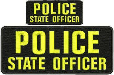 STATE OFFICER  embroidery patches 4x10 and 2x5  hook  on back od gre