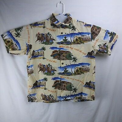 ec466b52b KAHALA S/S Hawaiian Shirt Del Mar Horse Racetrack Made In Hawaii Men's Size  XL