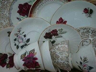 Vintage Mismatched China Trio x4 Tea Cup Saucer Plate Roses Red Gold Mix & Match